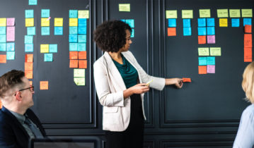 Woman planning with post-it notes