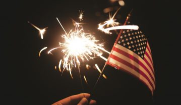Sparkler and flag