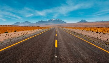Big empty road with blue sky