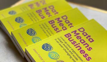 Data analytics book with yellow cover - Data Means Business
